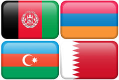 Asian Flag Buttons: Afghanistan, Armenia, Azerbaijani Stock Photography