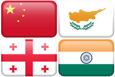 Asian Flag Buttons: China, Cyprus, Georgia, India Royalty Free Stock Images