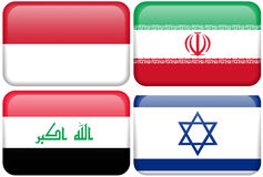 Asian Flag Buttons: Indonesia, Iran, Iraq, Israel Stock Photo