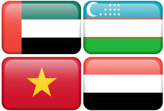 Asian Flag Buttons: United Arab Emirates, Uzbekistan Royalty Free Stock Photos
