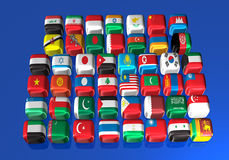 Asian flags Stock Photo
