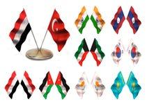 Asian flags 3. Turkey, Yemen,  India, Laos, Southern Korea, Kuwait, Jordan, Kipr, Kazakhstan Stock Image