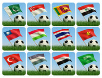 Asian flags and ball on grass. 3d. Soccer ball in the grass and the flag against the blue sky. Asian flags. 3d Royalty Free Stock Images