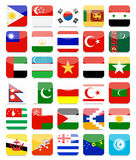 Asian Flags Flat Square Icon Set 2 Royalty Free Stock Images