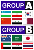 Asian flags  football group Stock Photography