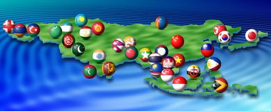 Asian flags and map Royalty Free Stock Image