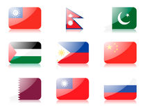 Asian flags set 4 Stock Images