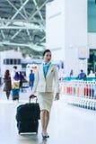 Asian flight attendant at Incheon International airport Stock Photos
