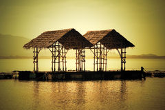 Asian floating huts Royalty Free Stock Photography