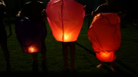 Asian floating lanterns stock video footage