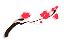 Asian flower. Sumi-e of asian plum tree blossom minimal Royalty Free Illustration