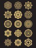 Asian flowers icons set isolated on black background. Chinese or japanese decorative elements. Asian collection ornament indian. Vector illustration Stock Images
