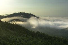 The foggy sunrise. The Asian foggy sunrise on the top of the hill royalty free stock photos