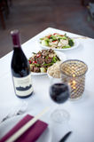Asian Food. Fine restaurant table setting with asian or chinese food and wine Stock Photo