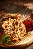 Asian Food. Asian crispy traditional food on wooden table Stock Images