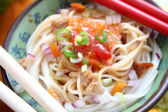Asian food. With soba noodles and vegetables Royalty Free Stock Photo