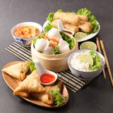 Asian food assortment. Studio shot royalty free stock images