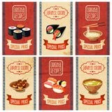 Asian Food Banners. Asian food original recipes japanese cuisine special price banners set  vector illustration Stock Image