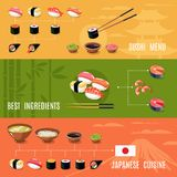 Asian Food Banners. With sushi menu best ingredients japanese cuisine isolated vector illustration Royalty Free Stock Images