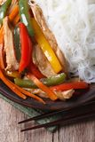 Asian food chicken with rice noodles macro vertical top view Stock Image