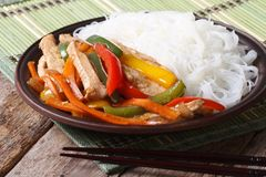 Asian food: chicken with vegetables and rice noodles horizontal Stock Image