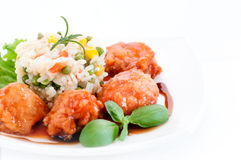 Asian food - chicken with vegetables and rice Royalty Free Stock Photos