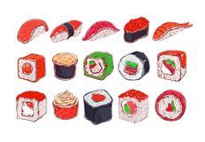 Asian Food collection. Sushi. Vector hand drawn illustration. Asian Food collection. Sushi. Colored . Vector hand drawn illustration. Isolated objects for stock illustration