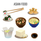 Asian food. Collection of traditional national oriental dishes on white. Royalty Free Stock Image