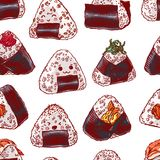 Seamless different onigiri. Asian food. Cute seamless pattern of different onigiri. Hand-drawn illustration Stock Photo