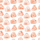 Seamless different sketch onigiri. Asian food. Cute seamless pattern of different sketch onigiri. Hand-drawn illustration Stock Photo