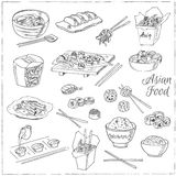 Asian Food. Decorative chinese food icons set. Stock Photo
