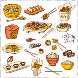 Asian Food. Decorative chinese food icons set. Stock Photos