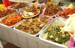 Asian food on display Royalty Free Stock Images