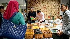 Asian food (dried fruits), Charity bazaar 2016 in Kiev, Ukraine, stock video footage