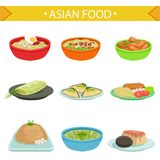Asian Food Famous Dishes Illustration Set Royalty Free Stock Photo