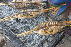 Asian food, fish at the barbecue Stock Photography