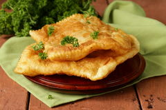Asian food fried pies with meat (cheburek) Royalty Free Stock Photo