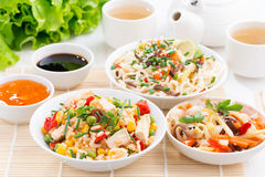 Asian food - fried rice with tofu, noodles with vegetables Stock Photos