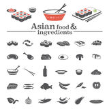 Asian food icons & ingredients Stock Photography