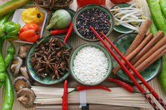 Asian food ingredients. The ingredients needed for preparing an Asian food Stock Photos