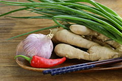 Asian food ingredients - ginger, chili pepper Stock Photos