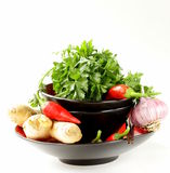 Asian food ingredients (ginger, chilli, coriander and garlic) Royalty Free Stock Photo