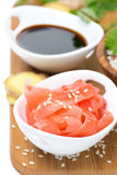 Asian food ingredients (ginger, soy sauce, rice) selective focus Royalty Free Stock Images