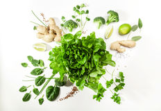 Asian food ingredients. Green salad ingredients on white background. Healthy food concept Royalty Free Stock Photo