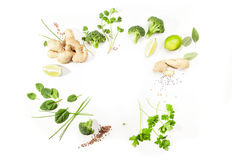 Asian food ingredients. Green salad ingredients on white background. Healthy food concept. Copy space Stock Photo