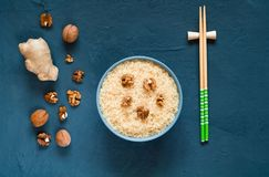 Asian food ingredients and nuts on a dark background. The concept of the most popular Chinese dishes in the world, top view, copy. Asian food ingredients and stock image