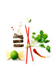 Asian food ingredients. And red sticks on white background with copy space Royalty Free Stock Photos