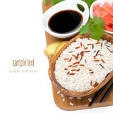 Asian Food Ingredients (rice, Ginger, Soy Sauce) Royalty Free Stock Photography