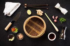 Asian food ingredients and steamer Royalty Free Stock Photos