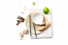 Asian food ingredients. On white background with copy space Stock Image